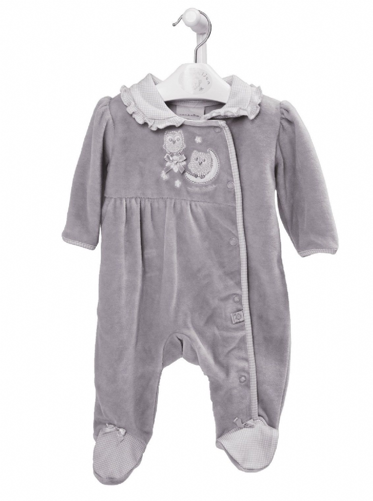 "AV2426 ""Owl on Moon""Girls  Velour  Sleepsuit"
